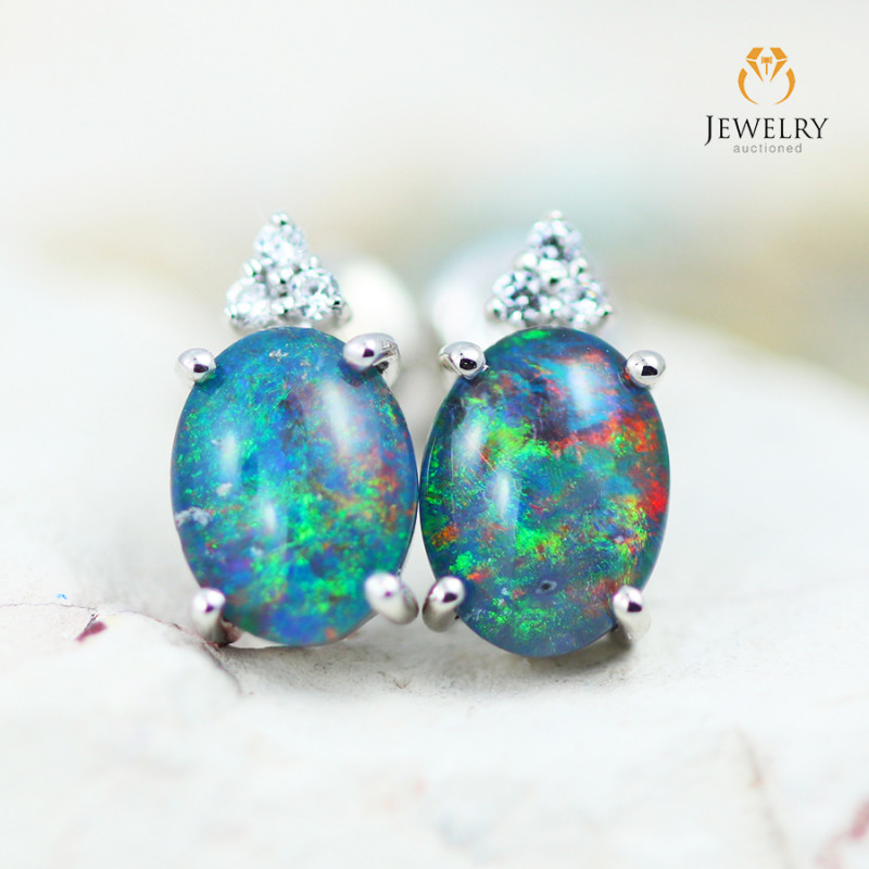 Opal Triplet & Diamond set in Silver Earrings - 2C - E E12264 600