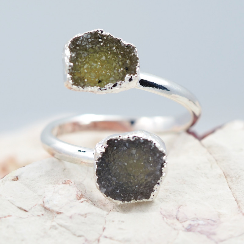 Raw  Druzy Gemstone in electroformed silver Ring BR18