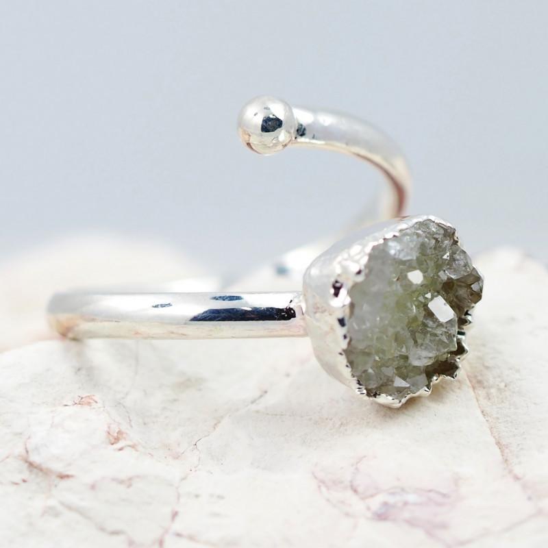 Raw  Druzy Gemstone in electroformed silver Ring BR19