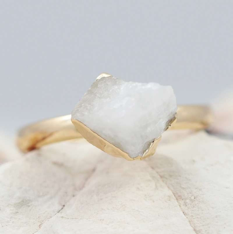 Raw  Crystal Gemstone in electroformed Ring BR25