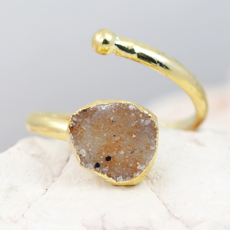 Raw  Druzy  Gemstone in electroformed gold Plated Ring BR28