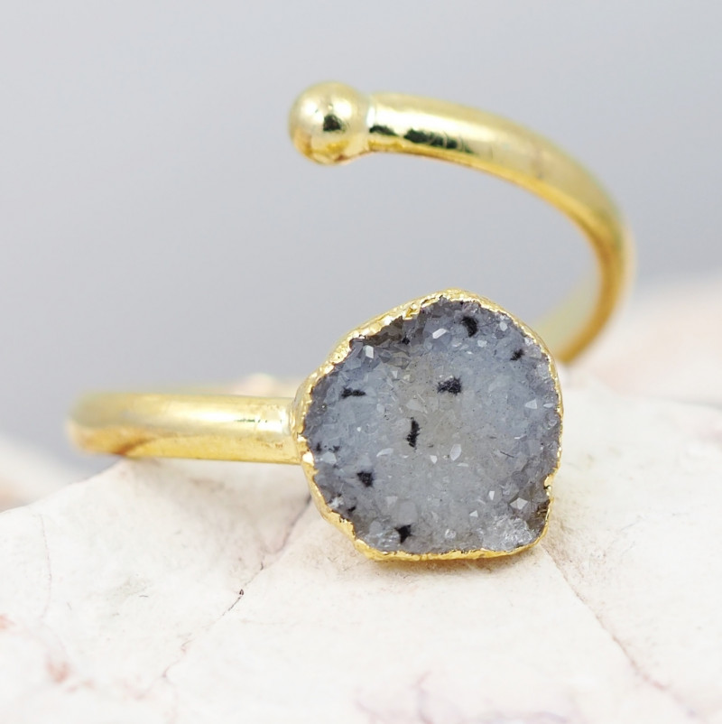 Raw  Druzy  Gemstone in electroformed gold Plated Ring BR29