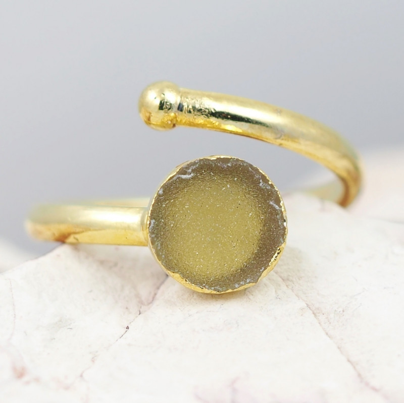 Raw  Druzy  Gemstone in electroformed gold Plated Ring BR31