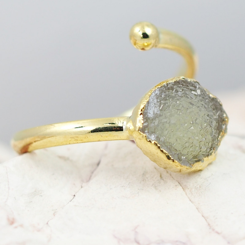 Raw  Druzy  Gemstone in electroformed gold Plated Ring BR32