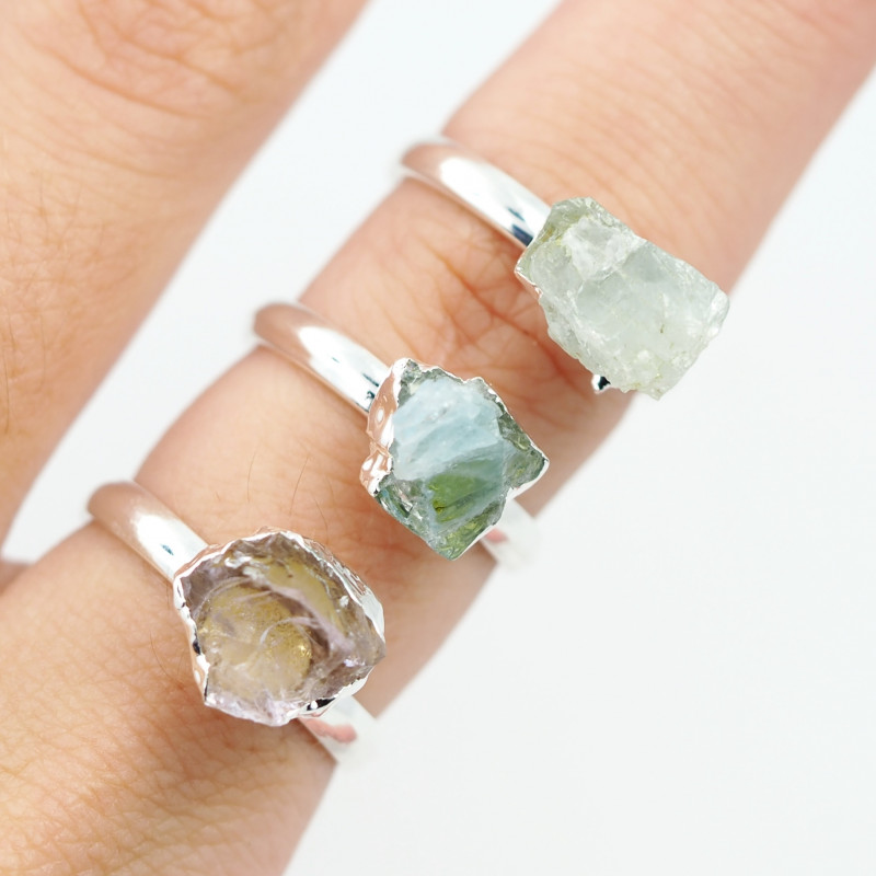 Three Raw   Gemstone in electroformed SilverPlated Ring BR37