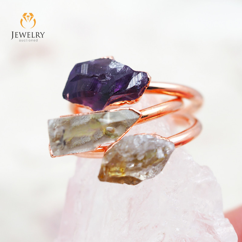 3 Raw Beautiful  terminated Gemstone Copper Ring BR 40