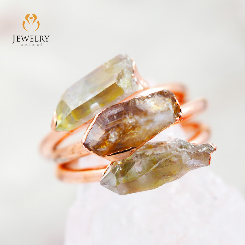3 Raw Beautiful  terminated Gemstone Copper Ring BR 46