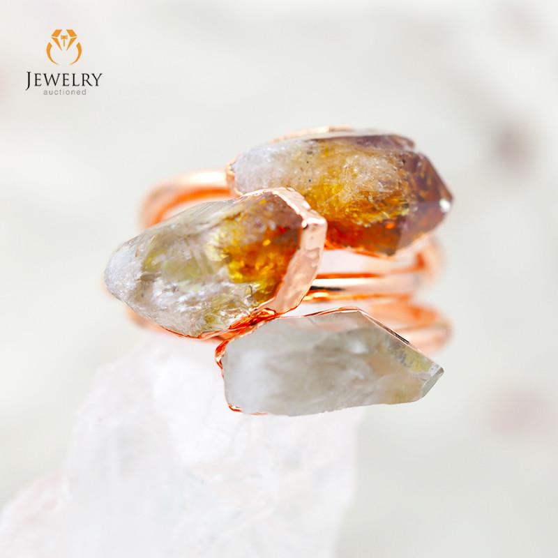 3 Raw Beautiful  terminated Gemstone Copper Ring BR 48