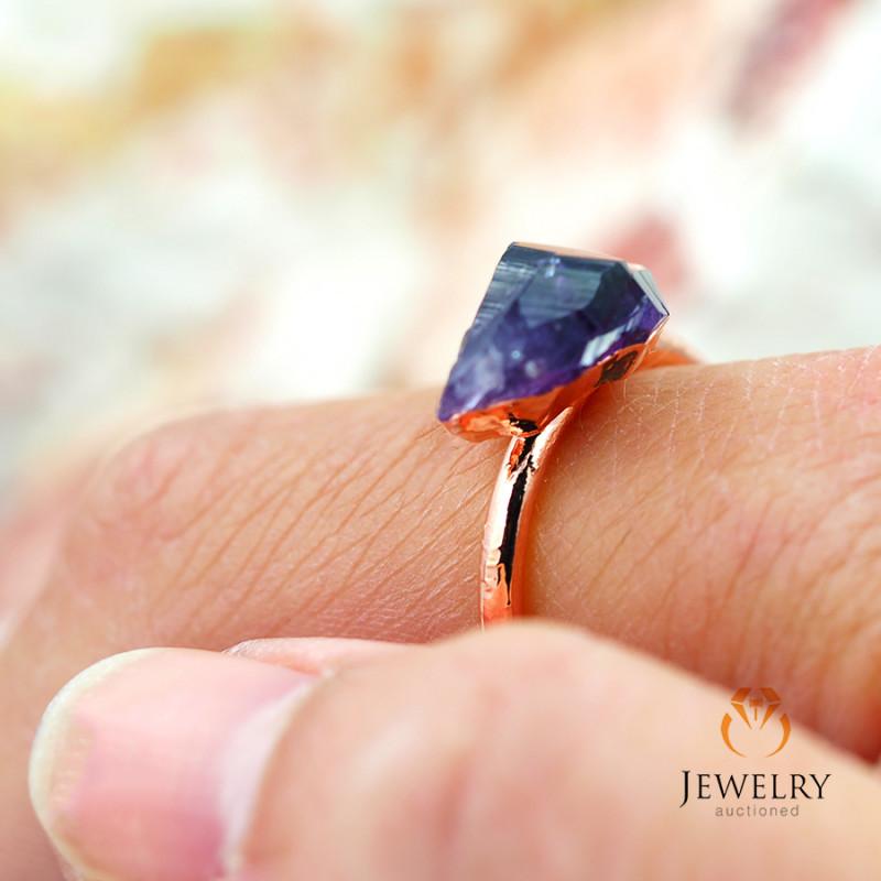 Amethyst Raw Beautiful terminated Gemstone Copper Ring BR 55