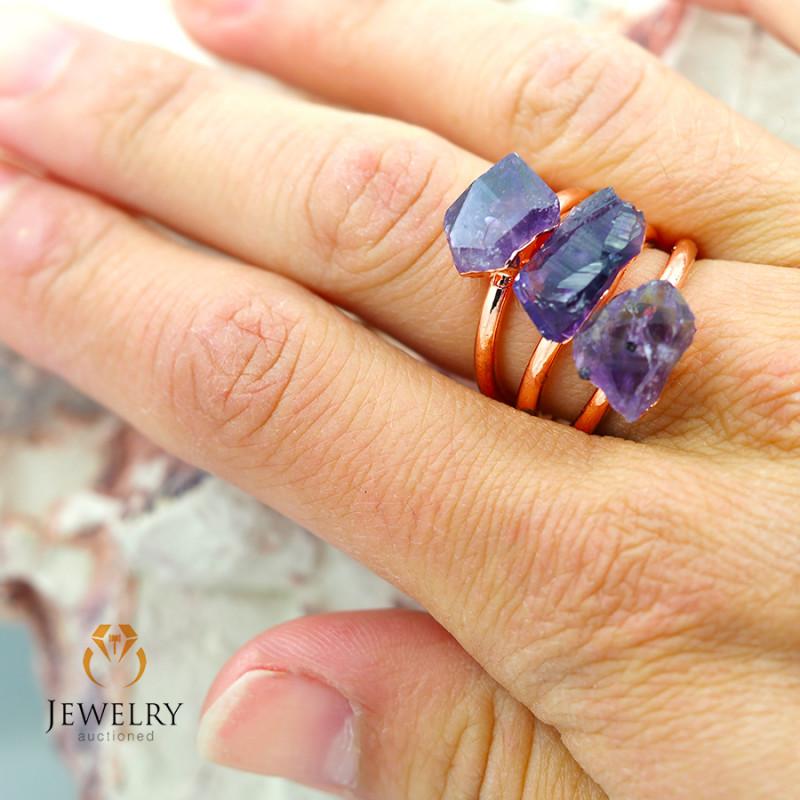 Three Amethyst Raw Beautiful terminated Gemstone Copper Ring BR 56