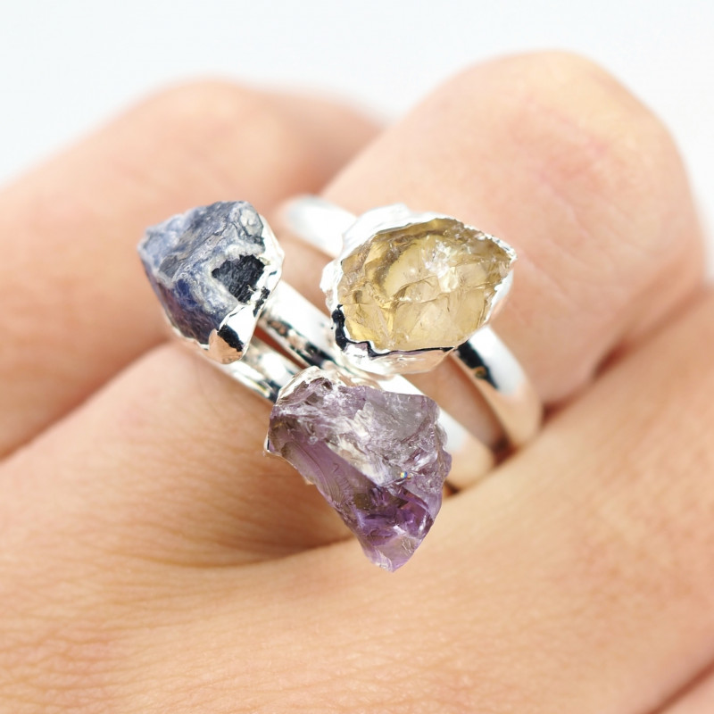 Three Raw   Gemstone in electroformed SilverPlated Ring BR63