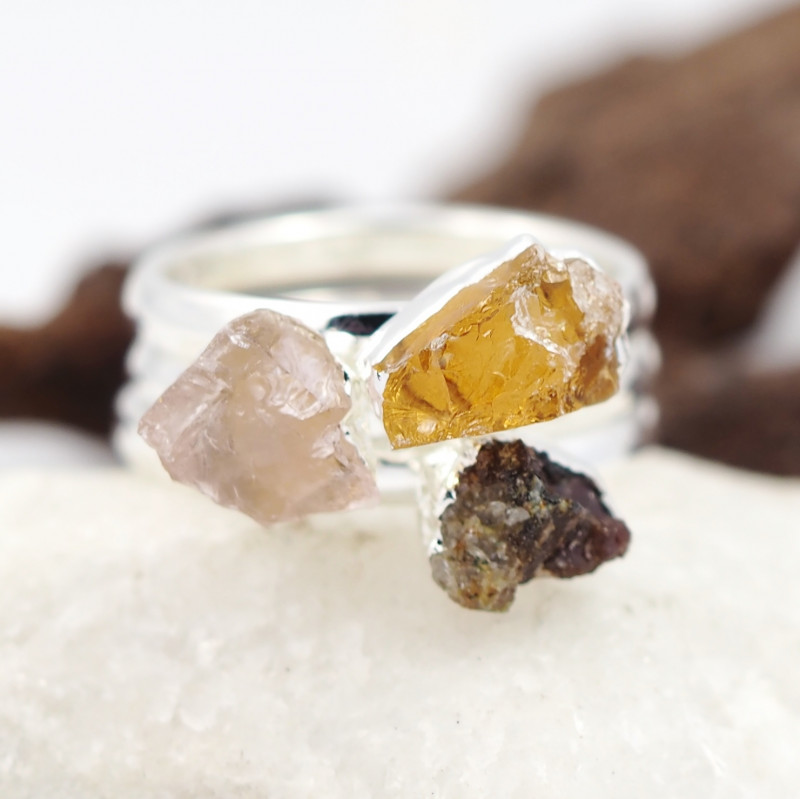 Three Raw   Gemstone in electroformed SilverPlated Ring BR67