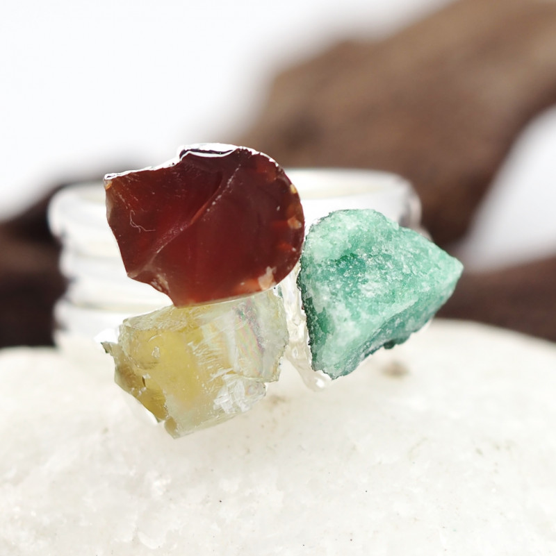 Three Raw   Gemstone in electroformed SilverPlated Ring BR73