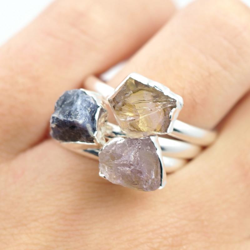 Three Raw   Gemstone in electroformed SilverPlated Ring BR74
