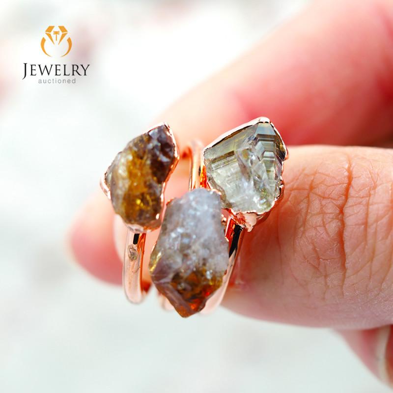 3 Citrine Raw Beautiful terminated Gemstone Copper Ring BR 85