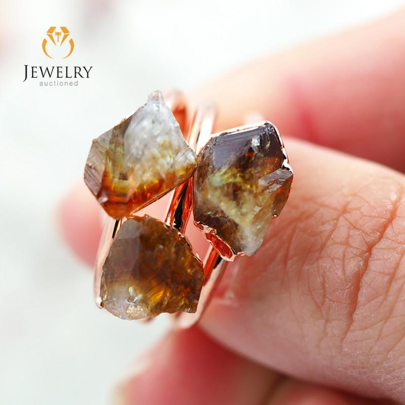 3 Citrine Raw Beautiful terminated Gemstone Copper Ring BR 86