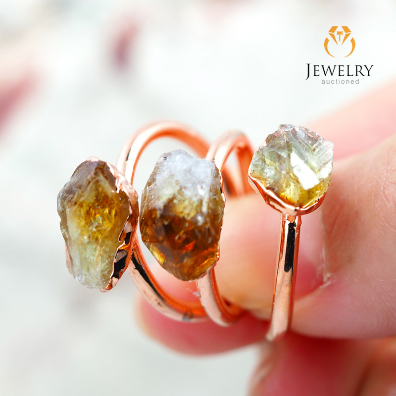 3 Citrine Raw Beautiful terminated Gemstone Copper Ring BR 87