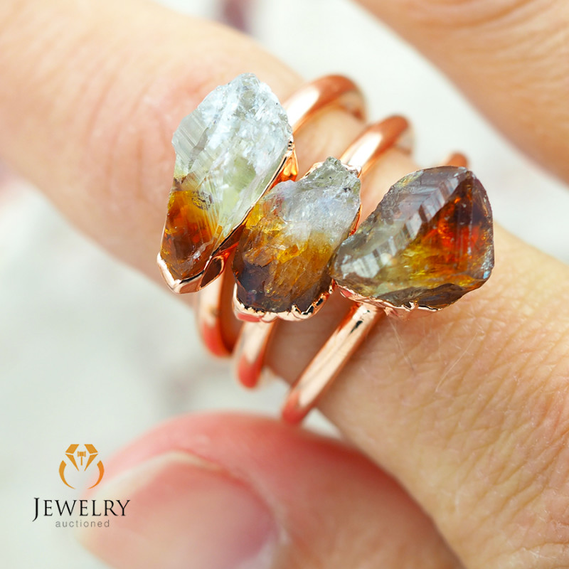 3 Citrine Raw Beautiful terminated Gemstone Copper Ring BR 93