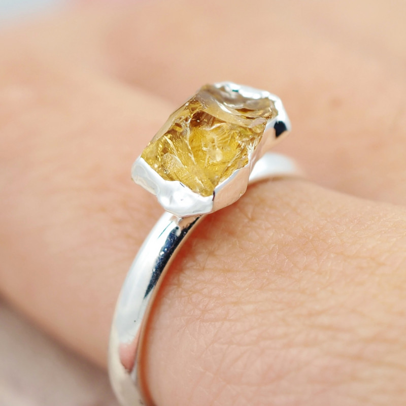 Raw Beautiful Citrine Gemstone  Rings Br 126