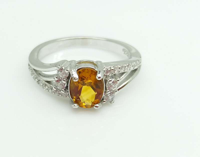 CITRIN NATURAL STONE WITH 925 SILVER RING I#1