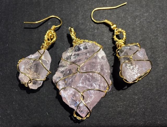Hand wire wrap Raw  Rose qaurtz earring & Pendant BR 130