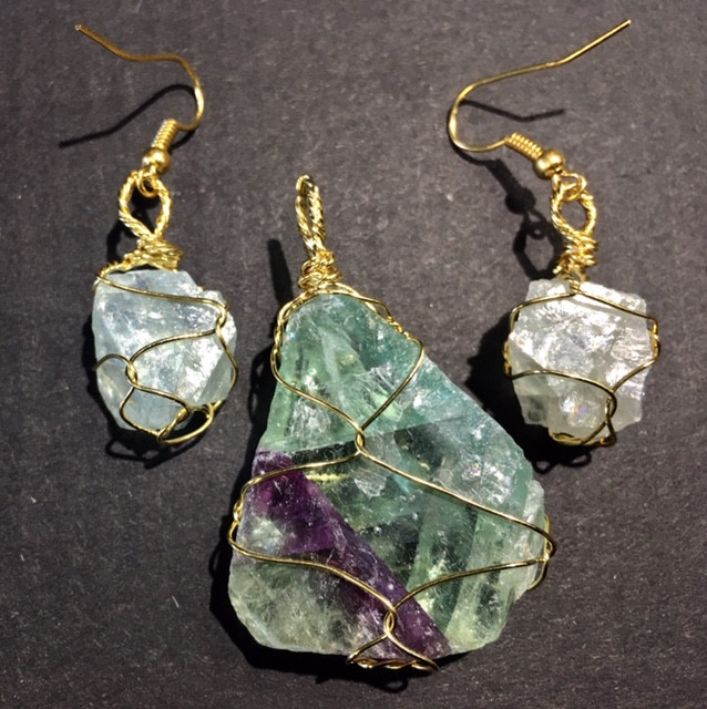 Hand wire wrap Raw Flourite earring & Pendant BR 132