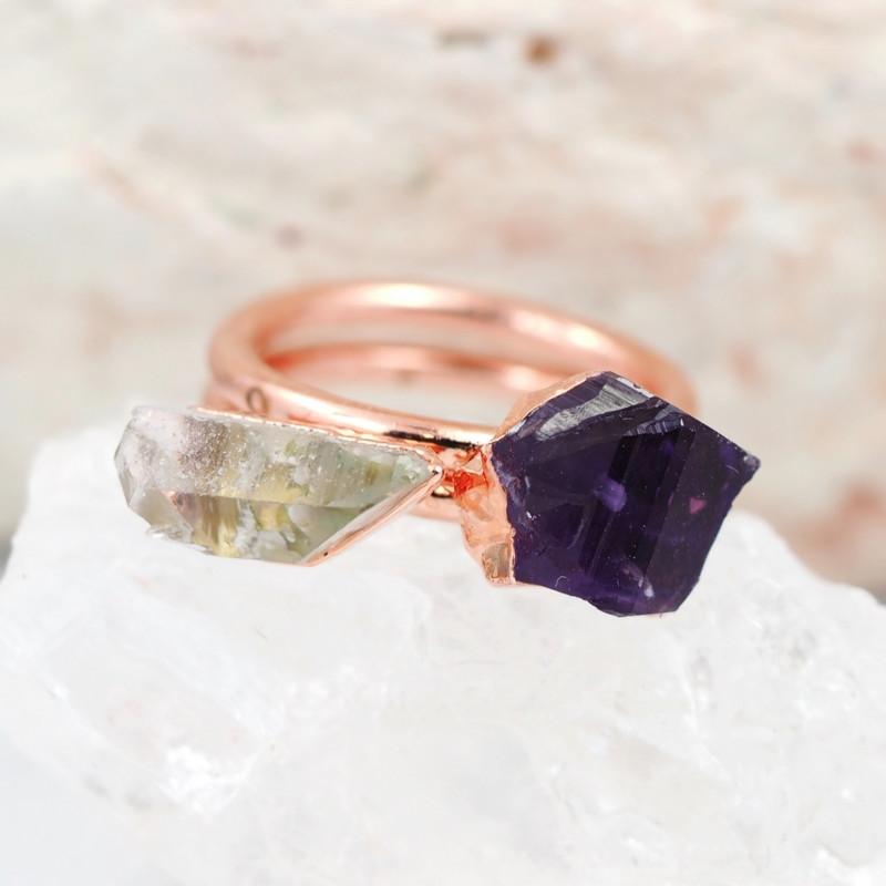 1 Raw Beautiful  terminated Gemstone Copper Ring BR 133