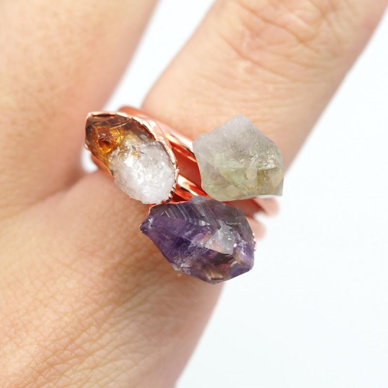 3 Raw Beautiful  terminated Gemstone Copper Ring BR 135