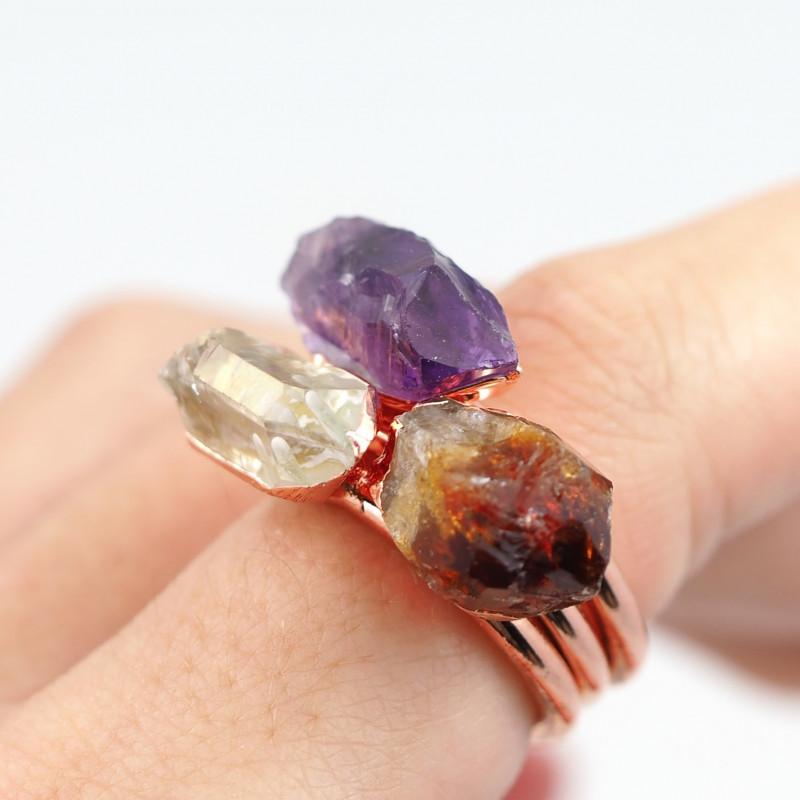 3 Raw Beautiful  terminated Gemstone Copper Ring BR 136