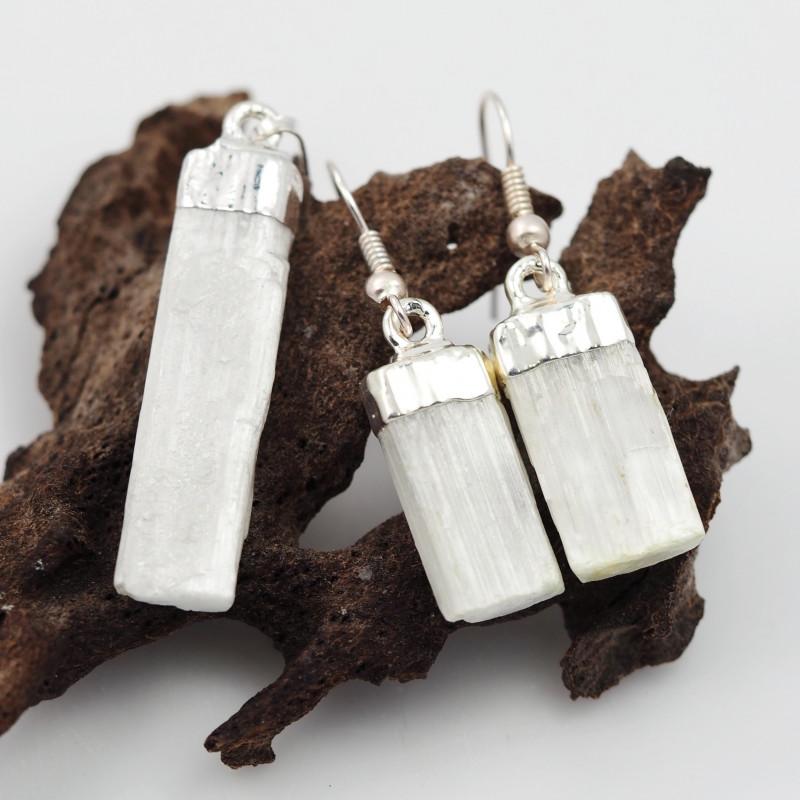 Spiritual Selenite 3 pc set Earrings & Pendant BR 149