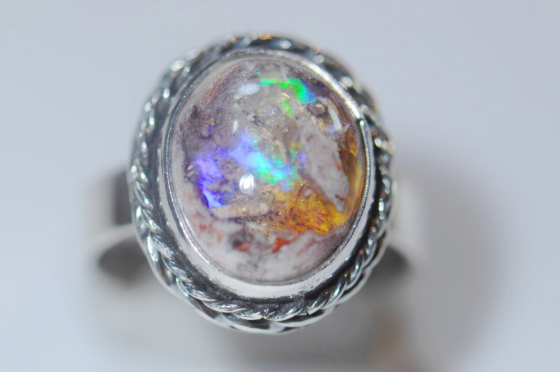 5.7sz Mexican Opal Sterling Silver Ring