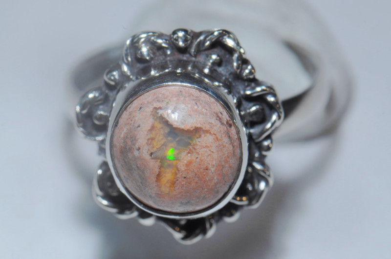 5.5sz Mexican Opal Sterling Silver Ring