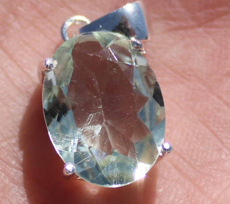 Prasiolite 7.02ct, Green Amethyst, Natural, Untreated, Oval, Solid Sterling