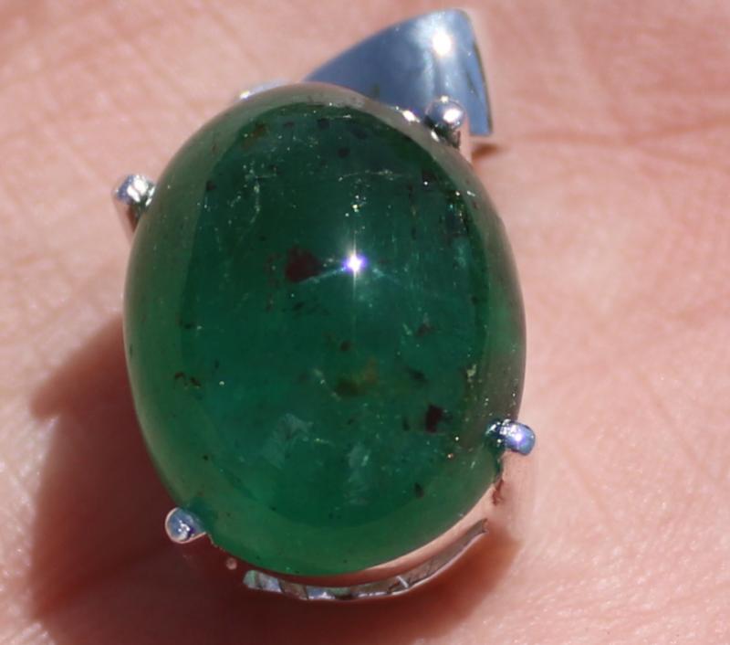 Zambian Emerald 10.00ct Solid Sterling Silver Pendant,Rhodium Finish,Natura