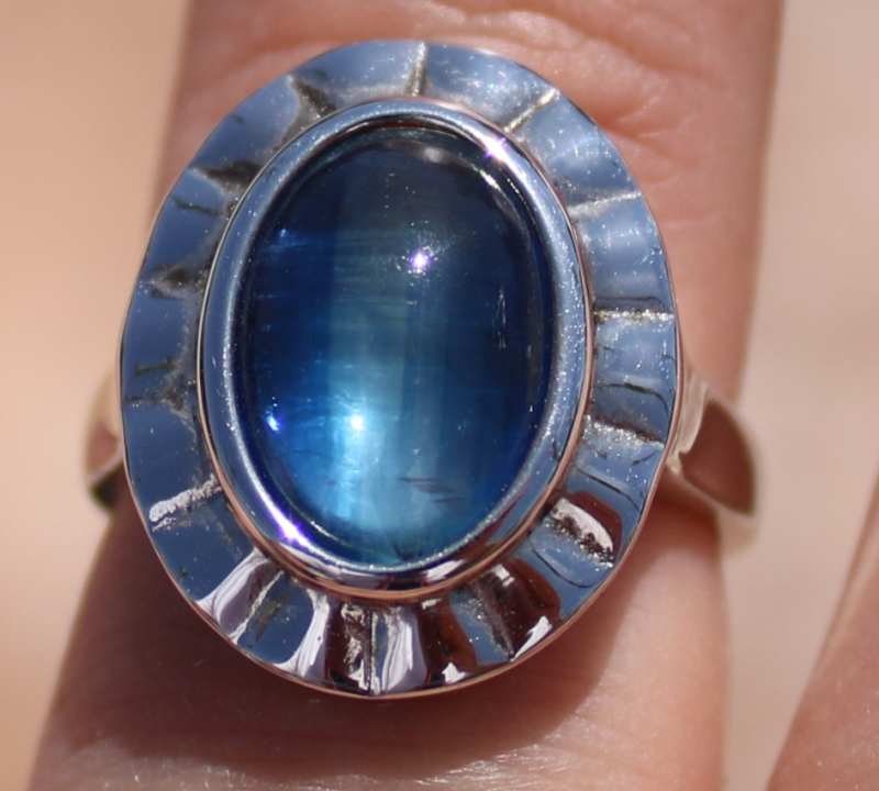 Cats Eye Kyanite 5.14ct Solid 925 Sterling Silver Rhodium Plated Solitaire