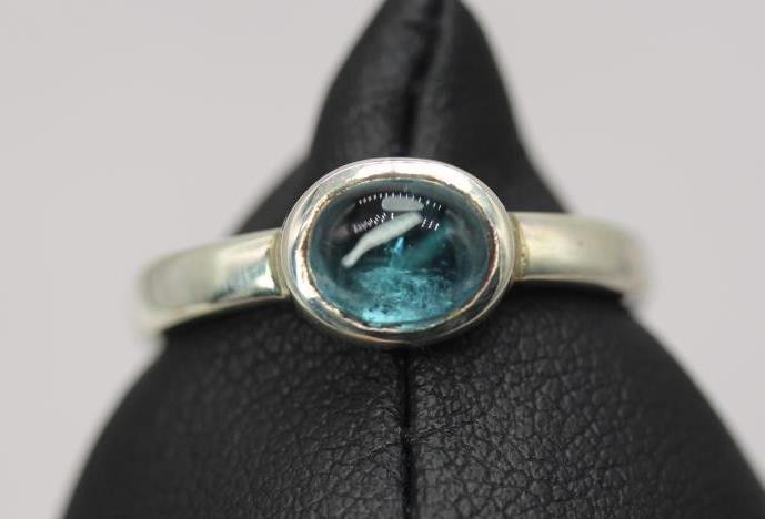 Natural Tourmaline Cabochon 1.9 ct Handmade 925 Sterling silver ring