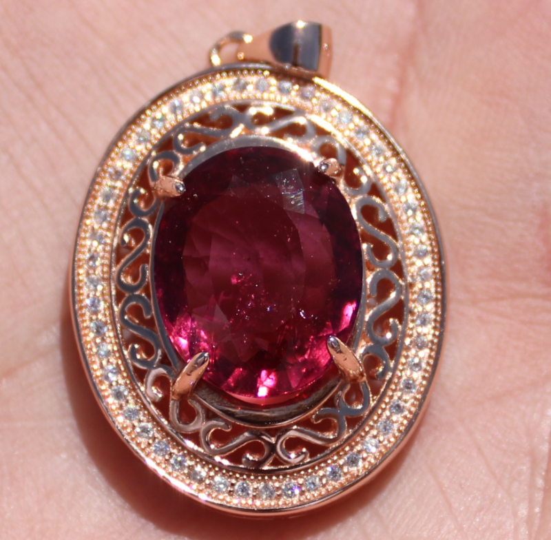 Rubellite 9.09ct Rose Gold Finish Solid 925 Sterling Silver Pendant,Natural