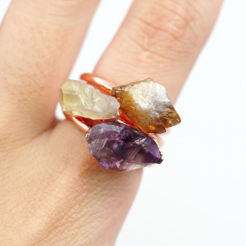 3 Raw Beautiful  terminated Gemstone Copper Ring BR 171