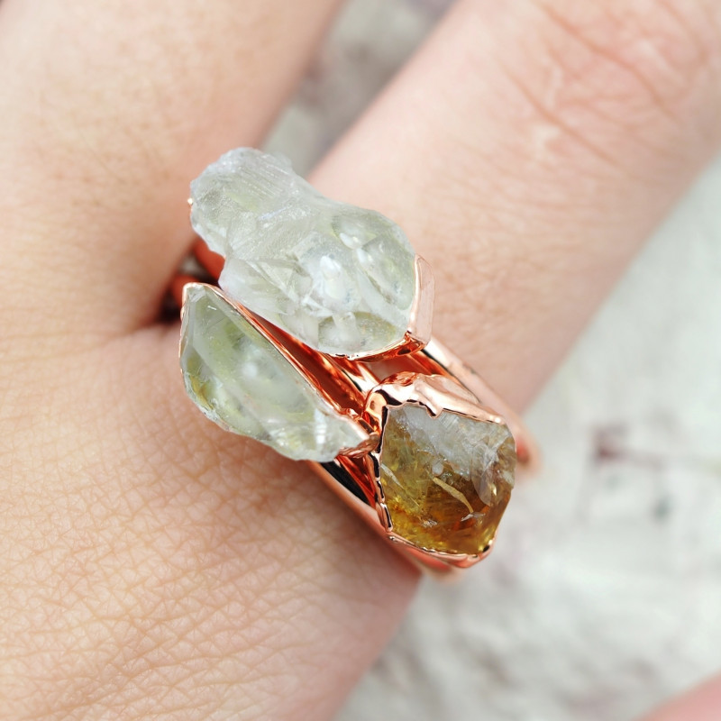 3 Raw Beautiful  terminated Citrine and Crystals  Copper Ring BR 161