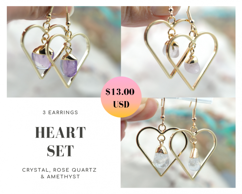 Three Tumbled beautiful gemstone Heart shape earrings Set BR172