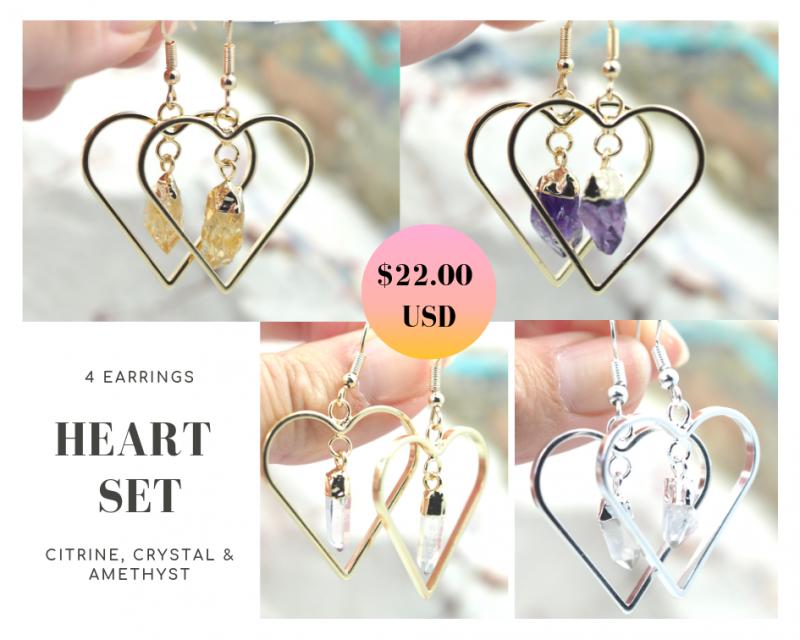 Four Lovers beautiful gemstone Heart shape earrings Set BR168