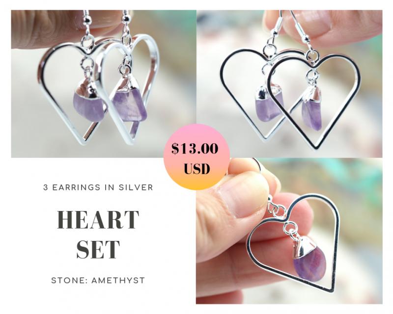 Three Tumbled beautiful Amethyst gemstone Heart shape earrings Set BR172
