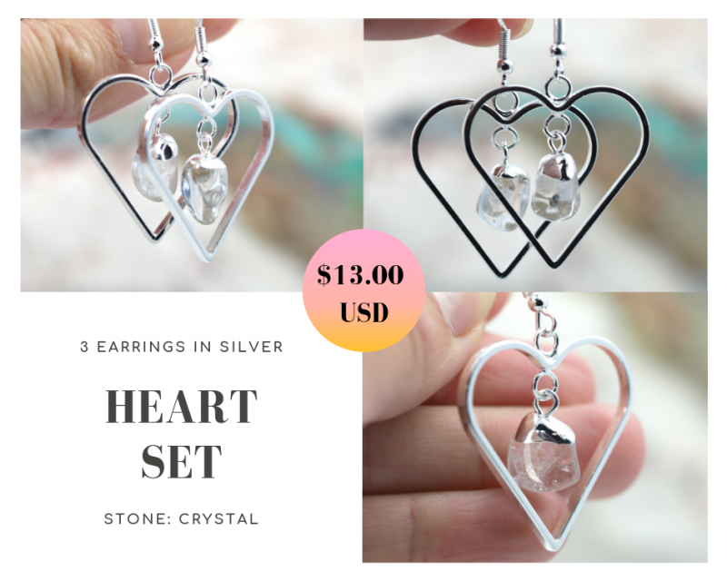 Three Tumbled beautiful Crystal gemstone Heart shape earrings Set BR174