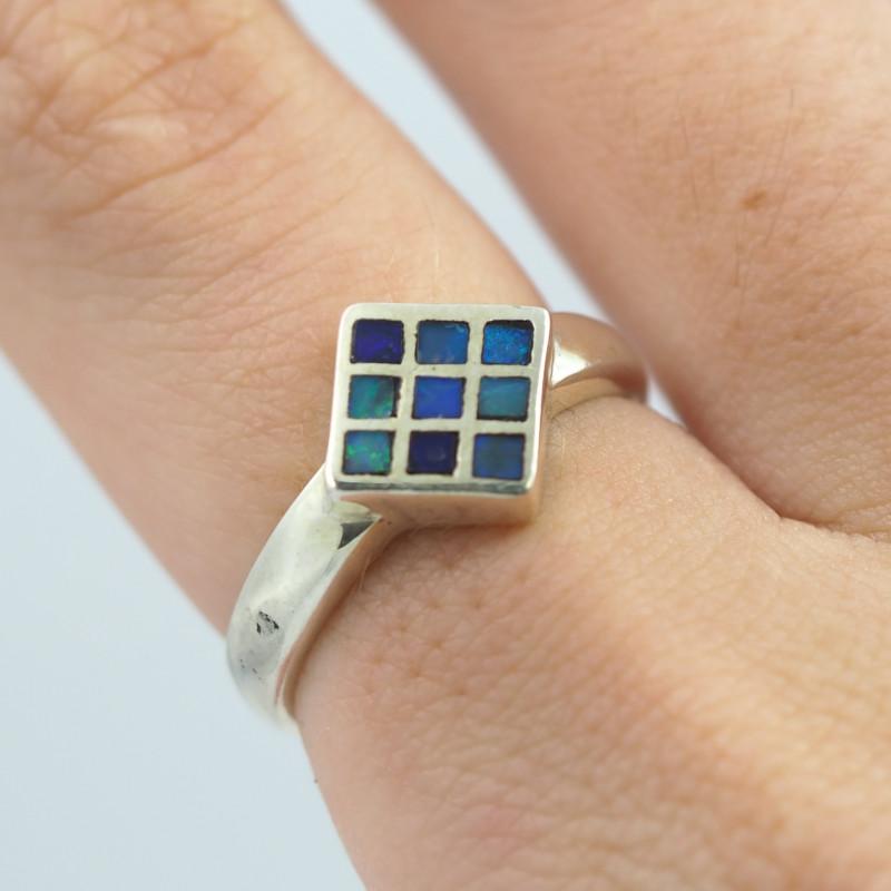 Australian diamond shape inlay Opal Silver Ring  OPJ 2247
