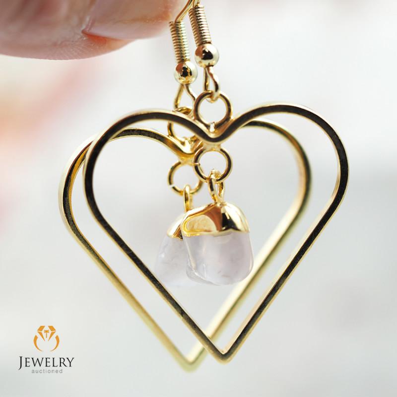 Tumbled beautiful Rose Quartz gemstone Heart shape earrings BR 177