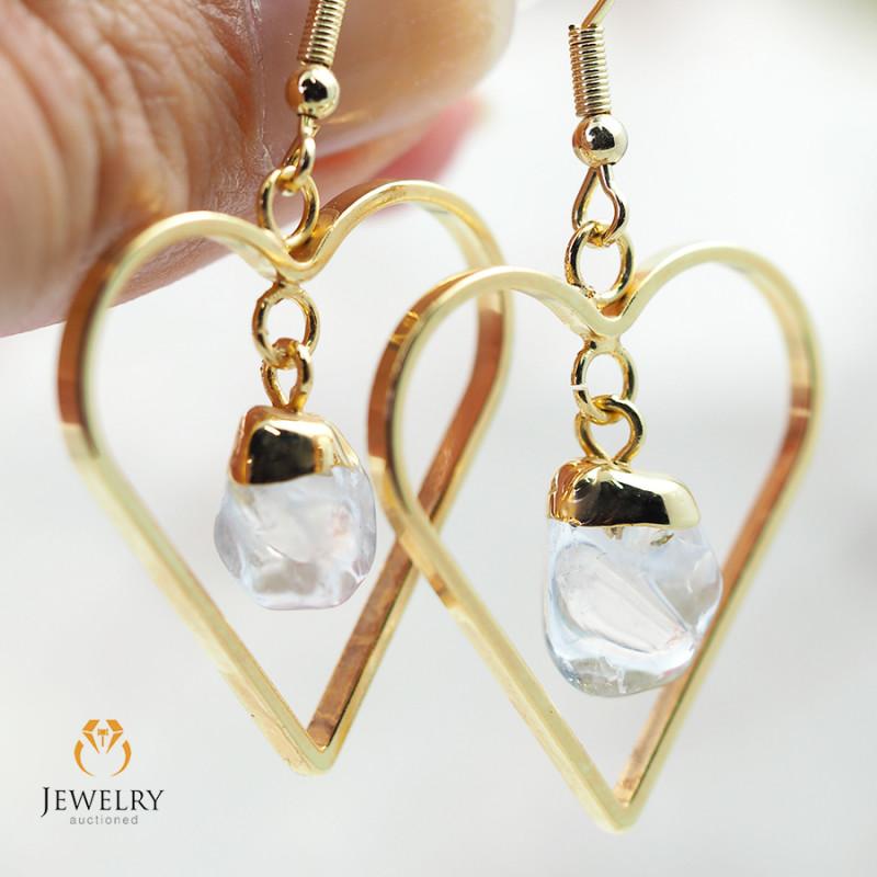Tumbled beautiful Crystal gemstone Heart shape earrings BR 180