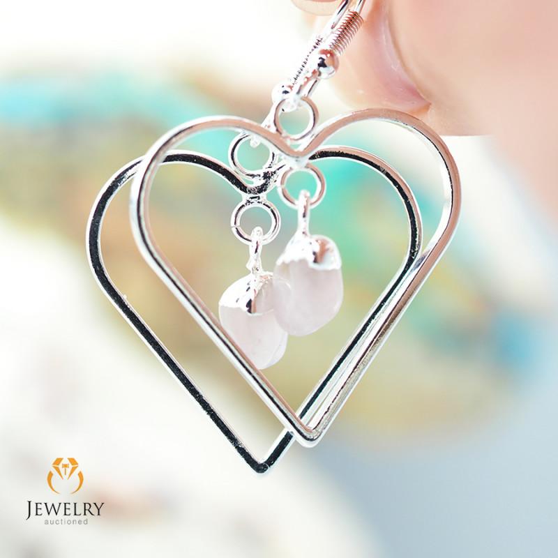 Tumbled beautiful Rose Quartz gemstone Heart shape earrings BR 185
