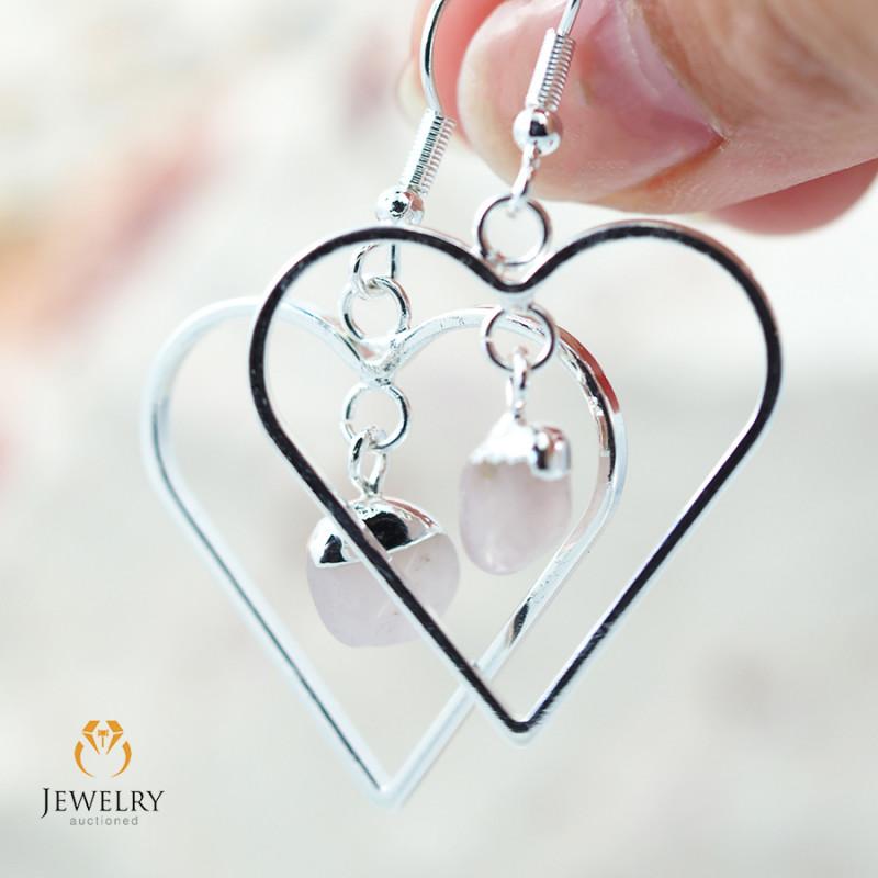 Tumbled beautiful Rose Quartz gemstone Heart shape earrings BR 186
