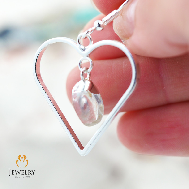 Tumbled beautiful Crystal gemstone Heart shape earrings BR 188