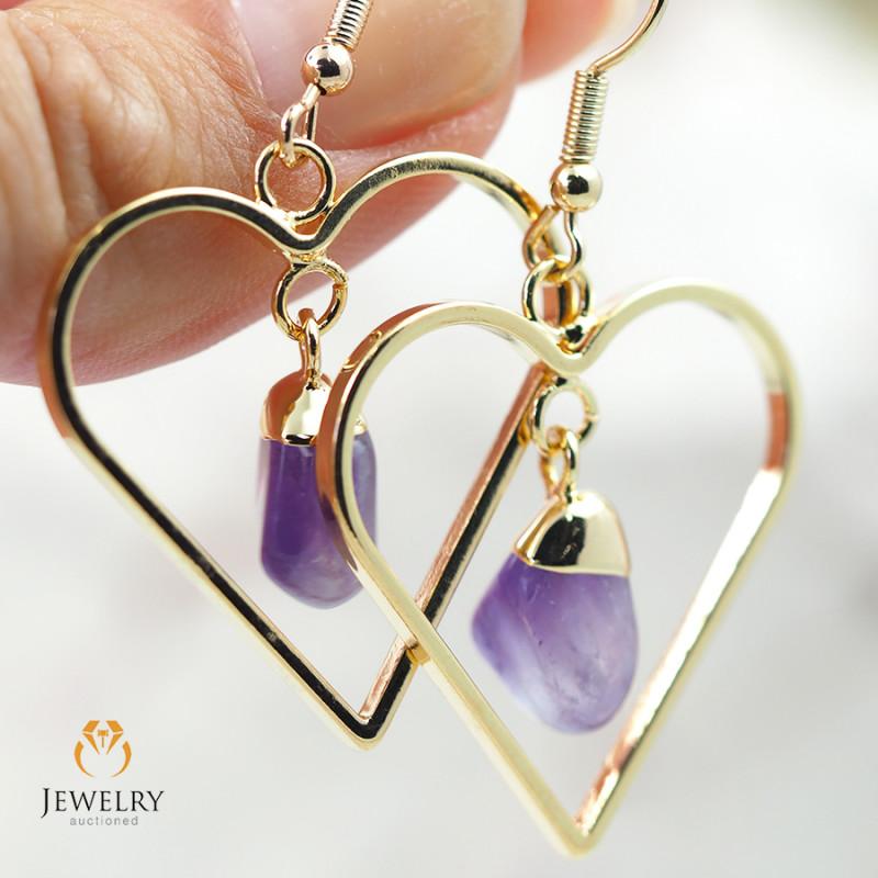 Tumbled beautiful Amethyst gemstone Heart shape earrings BR 191
